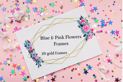Blue & Pink Romantic Geometric Frames, Frames with Pink Blue Flowers,