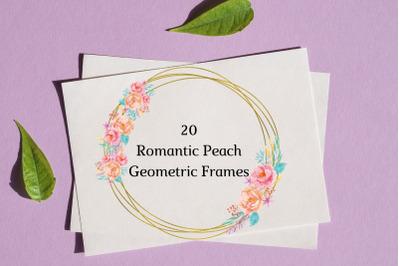 Peach Romantic Geometric Frames, Frames with Pink Blue Flowers, Wedding Romantic Frame