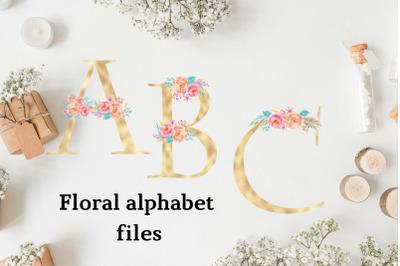 Gold foil alphabet with flowers, Floral alphabet clipart, Wedding alphabet, Golden monogram letters