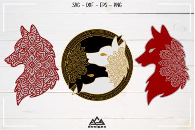 Wolf Mandala Art Svg Design