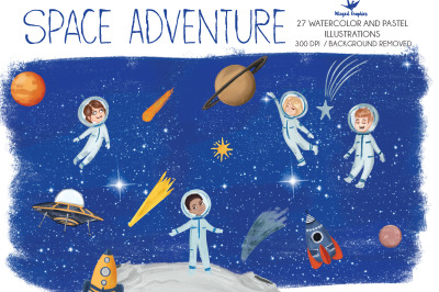 Space adventure: set of 27 hand drawn illustrations