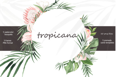 Tropicana watercolor tropical bouquets