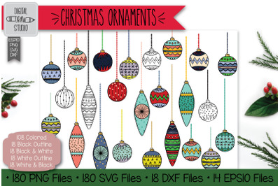 180 Hand Drawn Christmas Ornaments Clip Art | Tree Balls Decorations