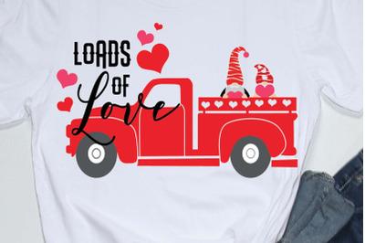 Happy valentines day quote svg, loads of love,truck,valentine truck