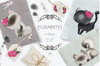 Cute cat clipart, animal clipart, Valentines clipart, nursery clipart