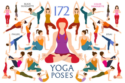 Women Yoga Silhouettes Pose. Exercises Set. Yoga postures