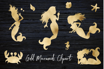 Gold Mermaids Clipart