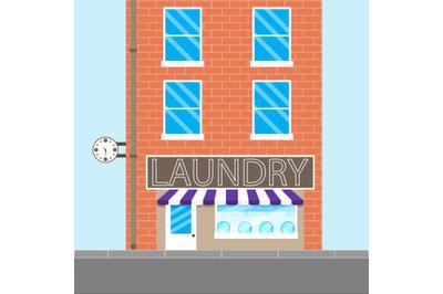 Laundry brick building