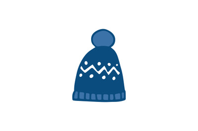 Blue wool winter hat hand drawn vector icon.Pom pom hat doodle icon.