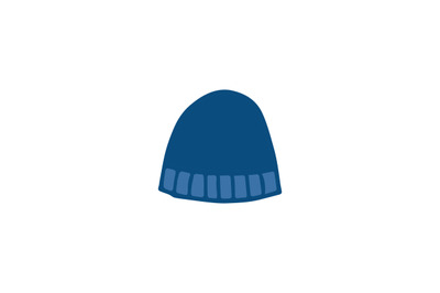 Hand drawn blue beanie hat icon isolated on a white background.