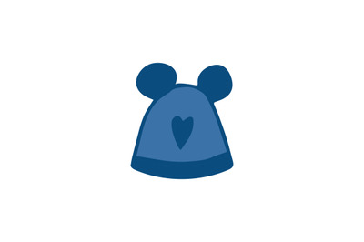 Blue cute winter pom pom hat flat vector icon isolated.