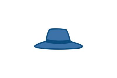 Blue hand drawn flat vector fedora hat icon