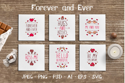 6 hand drawn Valentine cards with quotes and phrases