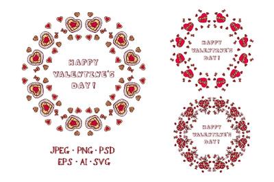 3 valentine handdrawn wreaths