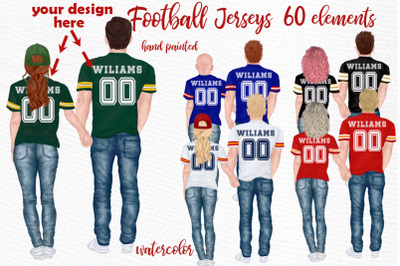 Football jerseys, jersey clipart,COUPLES IN JERSEY,