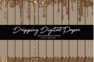 Dripping Glitter Digital Paper