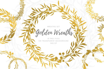 Golden wreaths of all seasons set. Hand drawn illustration