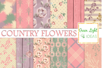 Shabby Country Flowers Digital Papers, Floral Spring Backgrounds
