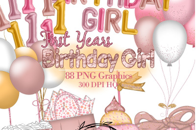 Birthday Girl Clipart, First Years Party Illustrations, Foil Balloons