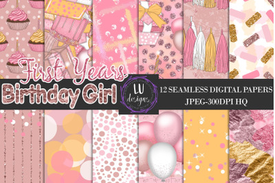Birthday Girl Party Digital Papers, Birthday Backgrounds,