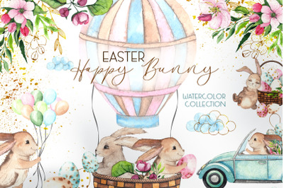 Easter Bunny. Watercolor collection
