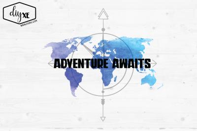 Adventure Awaits Watercolor Map