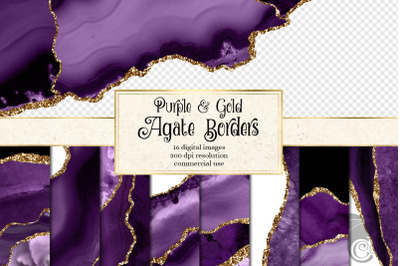 Purple and Gold Agate Border Overlays