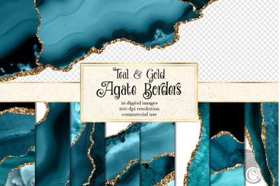 Teal and Gold Agate Border Overlays