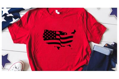 American flag map silhouette svg for america tshirt