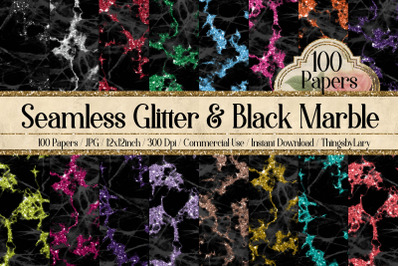 100 Seamless Glitter and Black Marble Texture Digital Papers