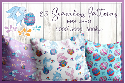 Cute Easter bunnies. Seamless patterns