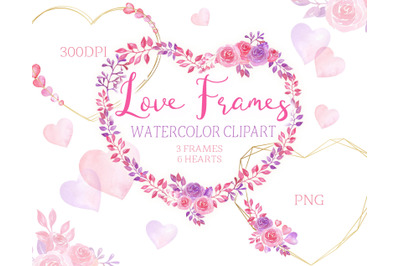 Watercolor frame wreaths for Valentine's Day.