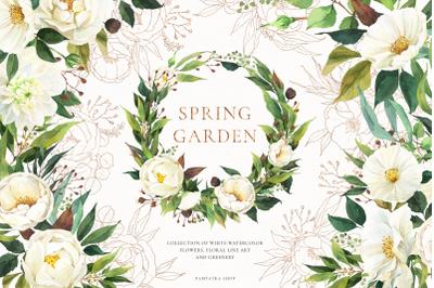 SPRING GARDEN greenery & white flowers