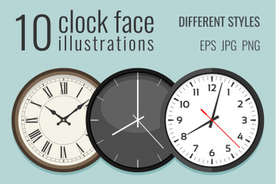 10 clock face illustrations
