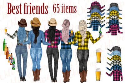 Best Friends Clipart, Cowgirls clipart, Western Girls