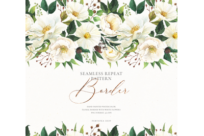 Watercolor floral border- white flowers & greenery
