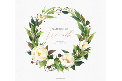 Watercolor floral wreath- white flowers & greenery