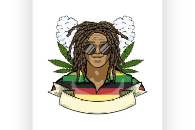 Hand drawn color sketch rastaman 7