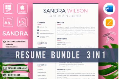 Creative Resume for Administrative Assistant. Resume Bundle + Bonus
