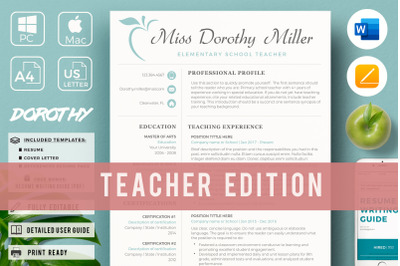 Elementary Teacher CV, Resume + Cover Letter + References + Free Bonus