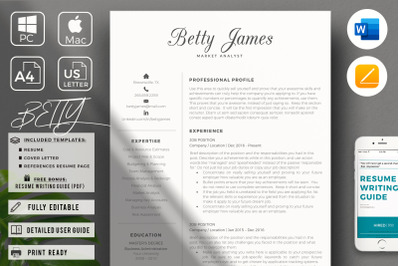 Market Analyst Professional Resume and Matching Cover Leter & Referenc