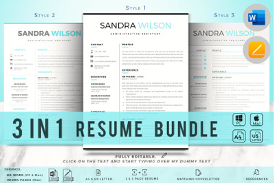 1, 2 & 3 Page Resume Template + Matching Cover Letter + References