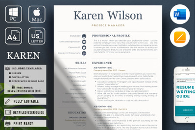 Project Manager Resume Template. One, Two & Three Page Resume + Bonus