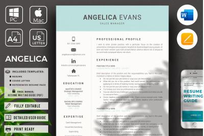 Sales Manager Resume. CV for modern professionals + Cover Letter  Samp