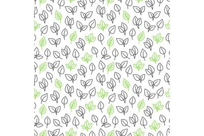 Line leaves seamless pattern