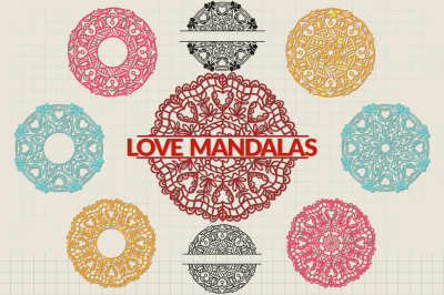 Love Mandalas SVG Cut Files Pack