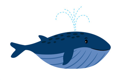 Cartoon Whale. Vector illustration of swimming whale with water founta