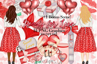 Valentines Clipart, Romantic Girl Graphics, Love Illustrations