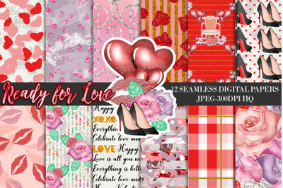 Valentines Seamless Patterns, Valentines Day Digital Papers