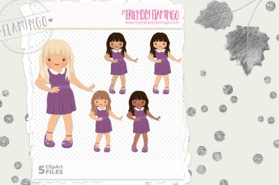 Cutie Girl Clipart Set